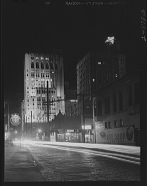 Night view, downtown section. Dallas, Texas