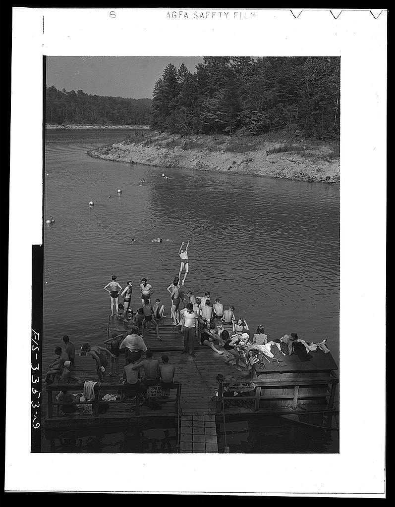 Norris Dam, Tennessee. Tennessee Valley Authority. Lake created by Norris Dam provides swimming facilities for people of Knoxville