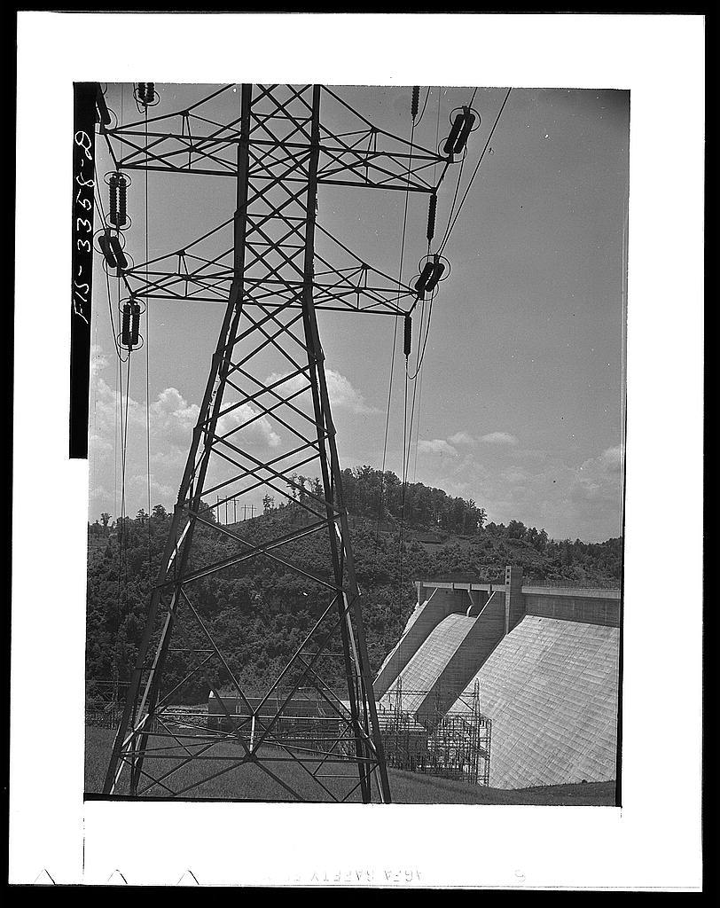 Norris Dam, Tennessee. Tennessee Valley Authority. Transmission tower