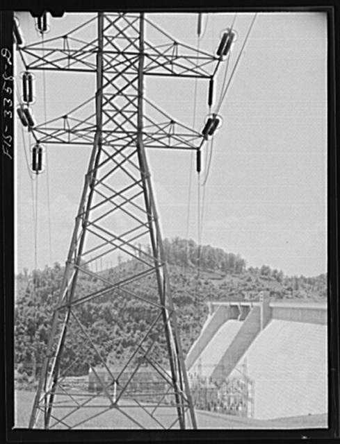 Norris Dam, Tennessee. Tennessee Valley Authority (TVA). Transmission tower
