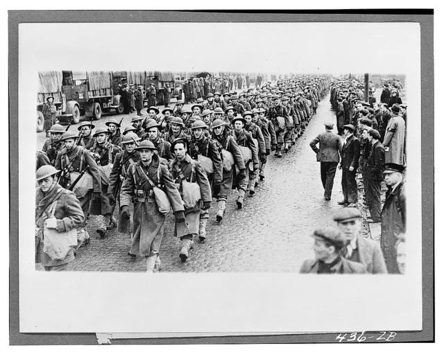 Northern Ireland. People watching members of the first contingent of the New American Expeditionary Forces as they march to their trains after disembarking from transports