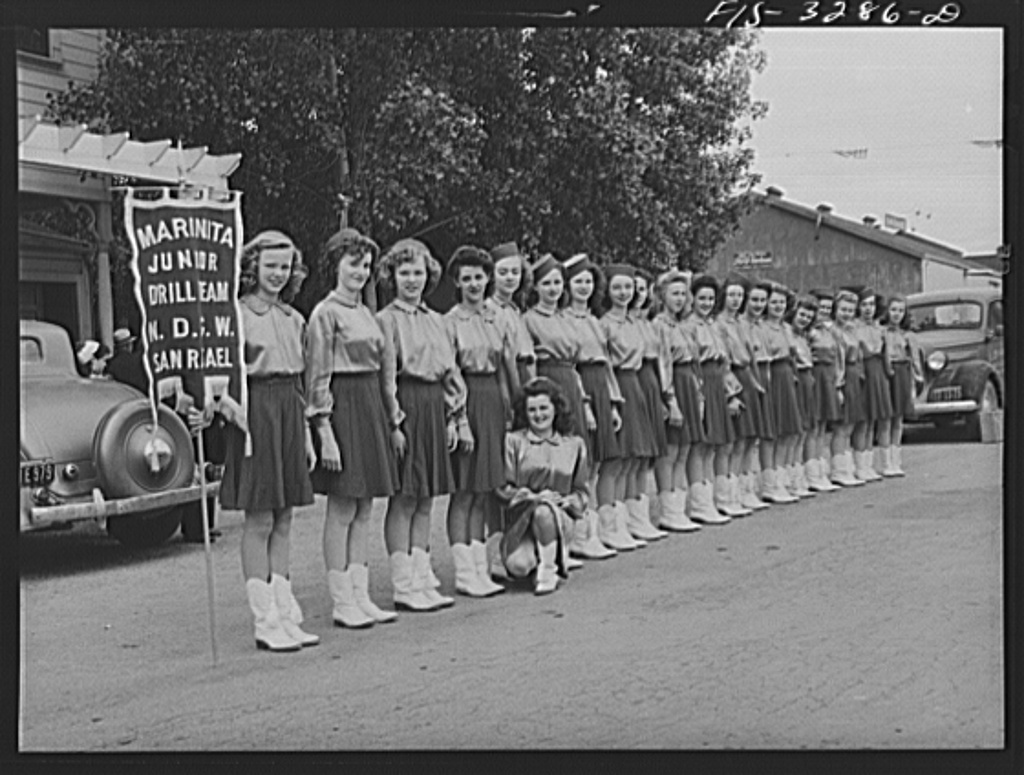 Novato, California. Drill team which participated in the parade at the Portuguese-American Festival of the Holy Ghost