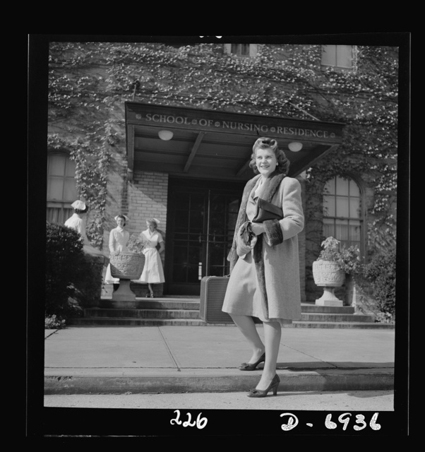 Nurse training. Fresh from college, twenty-year-old Susan Petty of Lebanon, Pennsylvania, arrives at the School of Nursing residence in New York City, which will be her home until she becomes an Army or Navy nurse. Because of her college degree, Susan will be required to spend only twenty-seven months here instead of the customary three years