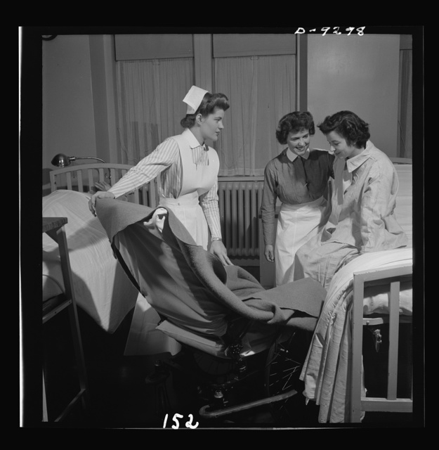 Nurse training. In these busy days, student nurses themselves must often instruct probationers in many things, such as methods of getting a patient from bed to wheelchair