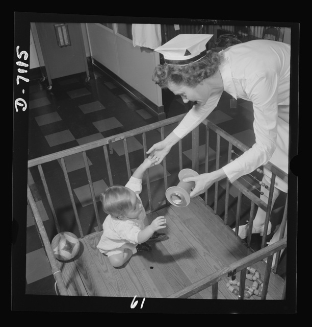"Nurse training. ""Occupational therapy"" for the very young. Convalescence in children, as in adults, is hastened by the encouragement of interest in normal activities. Thus, a nurse's duties in a children's hospital takes on many of the aspects of the nursery school teacher or playground director, as youngsters improve in health"