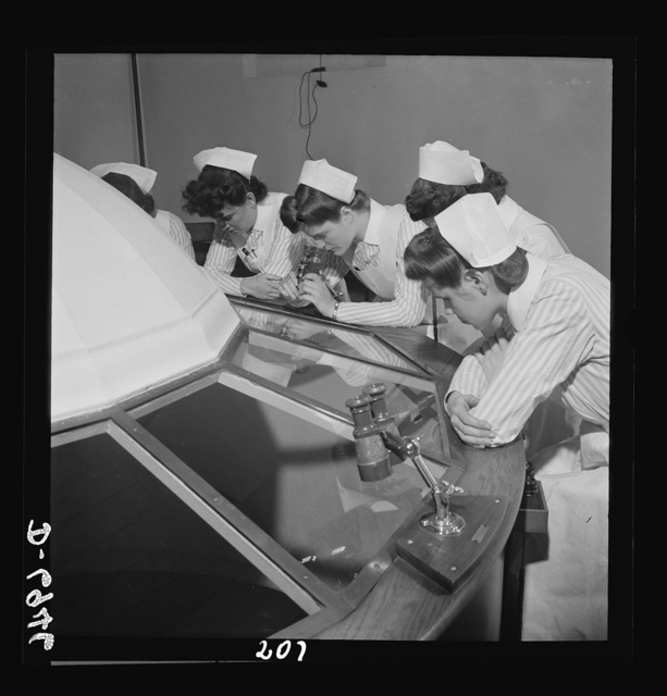 Nurse training. Student observation of operations in schools of nursing and medicine has brought about the development of various styles of amphitheatres. This dome arrangement is unique in the United States. While eye operations are in progress in the room below, the students observe through powerful binoculars attached to the dome