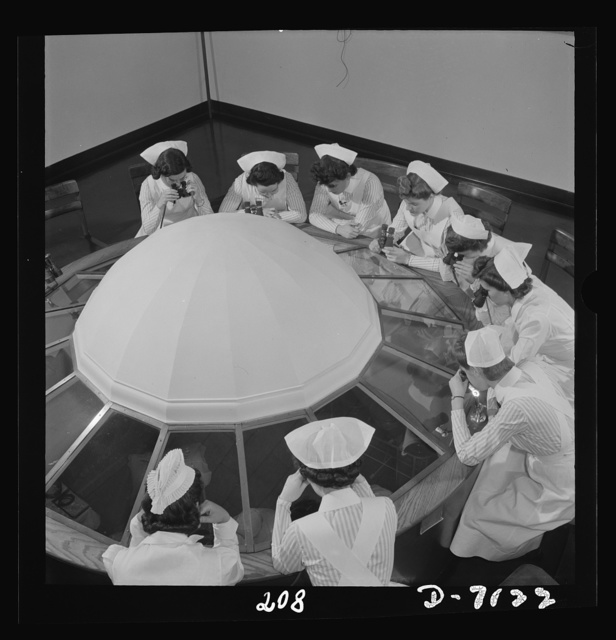 Nurse training. The necessity for student observation of operations in schools of nursing and medicine has brought about the development of various styles of amphitheaters. This dome arrangement is unique in the United States. While eye operations are in progress in the room below, each student can observe through powerful binoculars