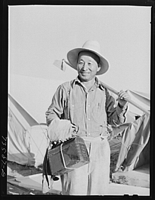 Nyssa, Oregon. FSA (Farm Security Administration) mobile camp. Japanese-American who was evacuated from a coastal area volunteered to do farm work and is now living at the camp. Sugar beet companies, faced with an acute labor shortage, sponsored the Japanese-Americans who moved into the camp