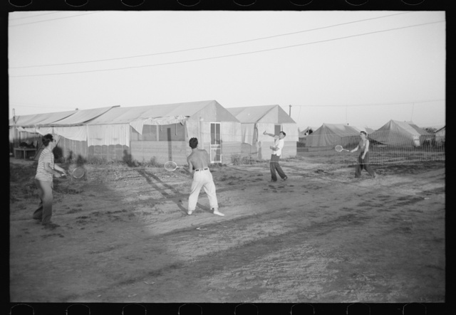 Nyssa, Oregon. FSA (Farm Security Administration) mobile camp. Japanese-Americans play badminton at the camp