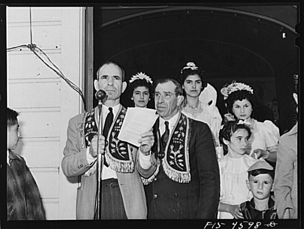 Officers of the Sociedade do Espirito Santo (SES), Portuguese-American society who sponsored the fiesta of the Holy Ghost. Santa Clara, California