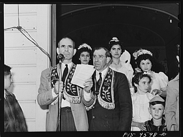 Officers of the Sociedade do Espirito Santo (SES), Portuguese-American society who sponsored the fiesta of the Holy Ghost. Santa Clara, California