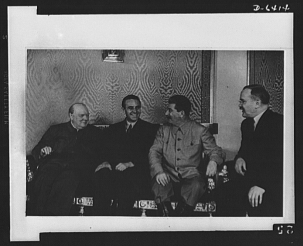 Official pictures of meeting of Stalin, Churchill, Harriman. These are the first official pictures released in the United States of the recent meeting of Premier I.V. Stalin, Union of Soviet Socialist Republics; Prime Minister Winston Churchill of Britain; and W. Averrell Harriman, representing President Roosevelt. The three men met in the middle of August, 1942 at the request of the Soviet leader, and held a series of conversations concerned with the future conduct of the war. Also present was V.M. Molotov, Peoples' Commissar for Foreign Affairs, U.S.S.R. The meetings lasted four days. Left to right, seated: Churchill, Harriman, Stalin, and Molotov, at the Kremlin