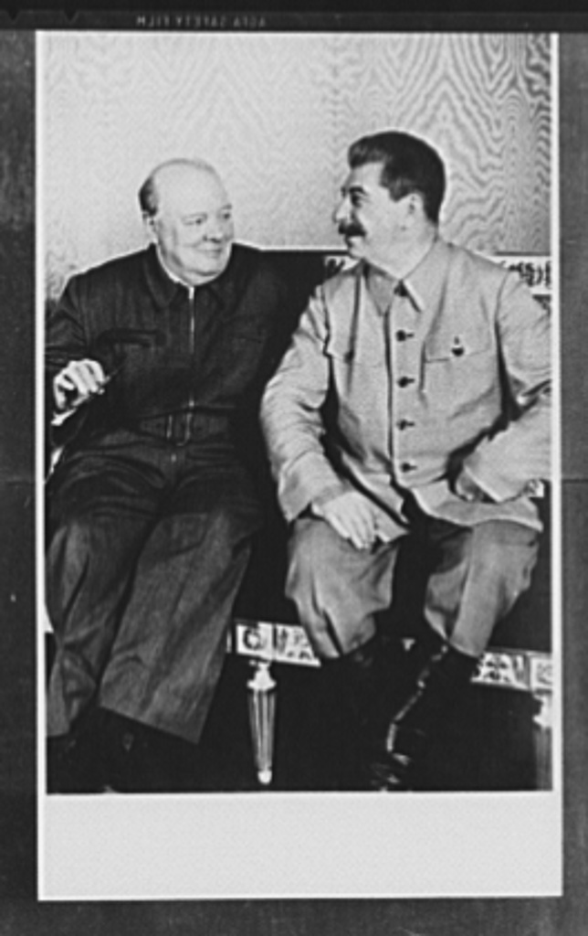 Official pictures of meeting of Stalin, Churchill, Harriman. These are the first official pictures released in the United States of the recent meetings of Premier I.V. Stalin, Union of Soviet Socialist Republics; Prime Minister Winston Churchill of Britain; and W. Averrell Harriman, representing President Roosevelt. The three men met in the middle of August, 1942, at the request of the Soviet leader, and held a series of conversations concerned with the future conduct of the war. Also present was V.M. Molotov, Peoples' Commissar for Foreign Affairs, Union of Soviet Socialist Republics. The meetings lasted four days. Left to right: Churchill and Stalin at the Kremlin