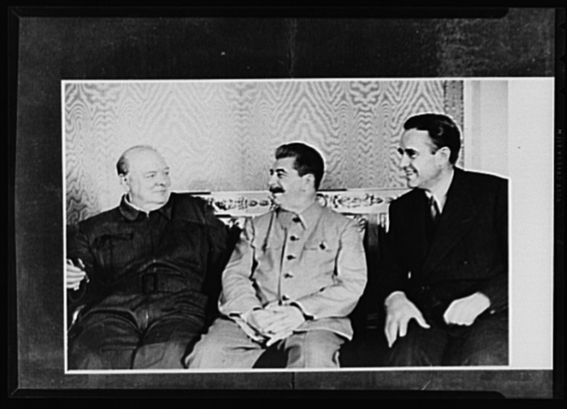 Official pictures of meeting of Stalin, Churchill, Harriman. These are the first official pictures released in the United States of the recent meetings of Premier I.V. Stalin, Union of Soviet Socialist Republics; Prime Minister Winston Churchill of Britain; and W. Averrell Harriman, representing President Roosevelt. The three men met in the middle of August, 1942, at the request of the Soviet leader, and held a series of conversations concerned with the future conduct of the war. Also present was V.M. Molotov, Peoples' Commissar for Foreign Affairs, Union of Soviet Socialist Republics. The meetings lasted four days. Left to right: Churchill, Stalin, Harriman at the Kremlin, Moscow