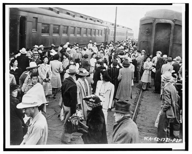 Other evacuees were transported from their residence areas to assembly centers by train / Signal Corps U.S. Army.