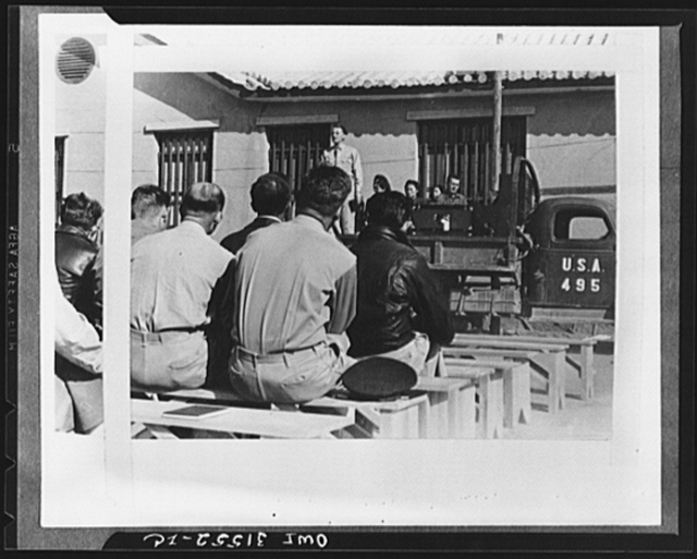 """Overseas forces observe sabbath with prayer. General view of Protestants' Sunday morning service of the members of the Fourteenth Army Air Force, """"somewhere in China"""""""