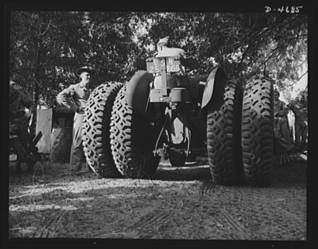 Parris Island. Marine Corps barrage balloons. Marines in training at Parris Island, South Carolina, add one more fighting trick to the many they already know. These fast, powerful tractors are used for positioning power winches from which tactical formations of barrage balloons are controlled