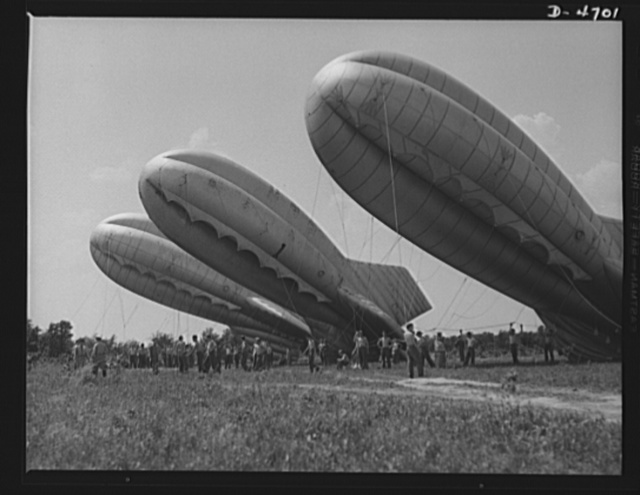 Parris Island. Marine Corps barrage balloons. Setting up balloon barrages is just another chore for the versatile marines. Special units in training at Parris Island, South Carolina handle the big bag with customary marine snap and precision