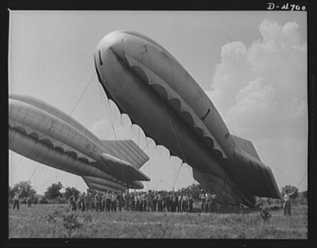 Parris Island. Marine Corps barrage balloons. The leathernecks get a new job and, as usual, handle it well. A barrage balloon ready to go aloft under the handling of special marine units in training at Parris Island, South Carolina