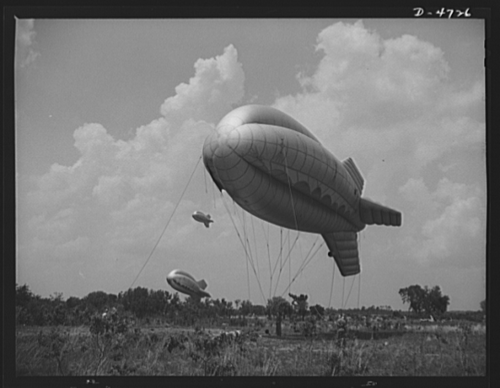 Parris Island. Marine Corps barrage balloons. The leathernecks make a strong medicine against Axis aircraft. Special marine units in training at Parris Island, South Carolina send up part of a tactical formation of barrage balloons that prevent dive bombing and the strafing of important ground installations