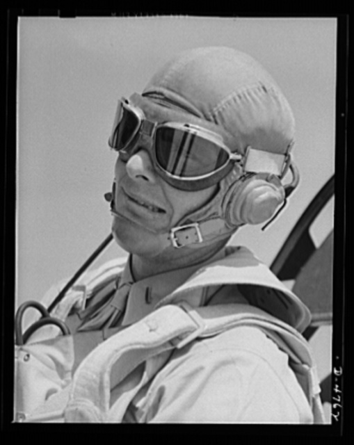 Parris Island. Marine Corps gliders. Glad he's on our side, not theirs. This lieutenant of the Marine Corps, studying glider piloting at Page Field, Parris Island, South Carolina, may some day land in battle dress on the outskirts of Berlin or Tokyo or on the heel of Italy's boot