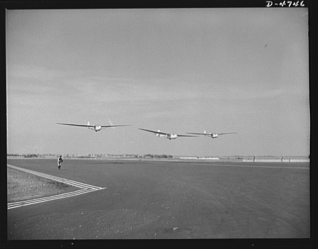 Parris Island. Marine Corps gliders. Leave it to the Marines to make the best use of all the new fighting tools. Gyrene glider pilots in training at Page Field, Parris Island, South Carolina take a six week course during which each student must complete 1000 successful takeoffs and landings