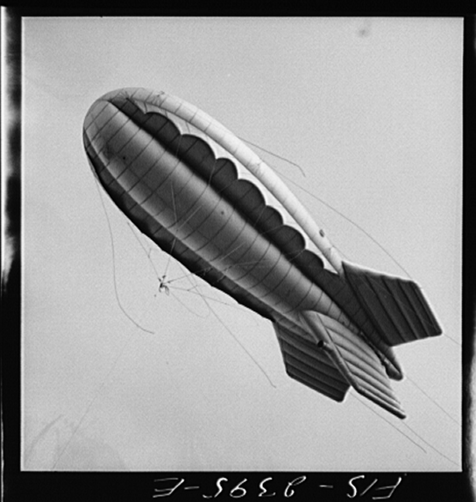 Parris Island, South Carolina. A barrage balloon