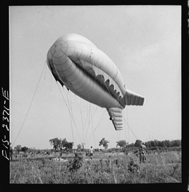 Parris Island, South Carolina. Tactical formations of barrage balloons prevent dive bombing and the strafing of important ground installations. The Leathernecks are developing an excellent technique in this method of protecting important locations from enemy aircraft