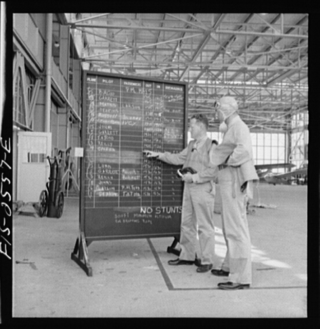 Parris Island, South Carolina. The operation board at the U.S. Marine Corps glider detachment training camp