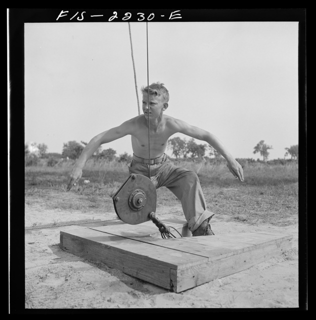 Parris Island, South Carolina. U.S. Marine Corps glider detachment training camp. Running up the barrage balloon