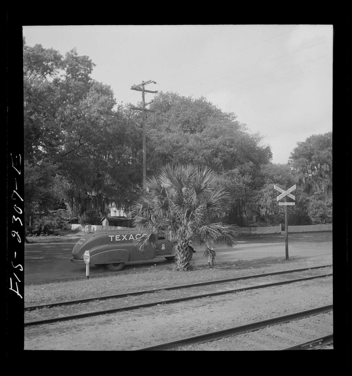 Parris Island, South Carolina. U.S. Marine Corps glider detachment training camp. A scene near the local railroad station