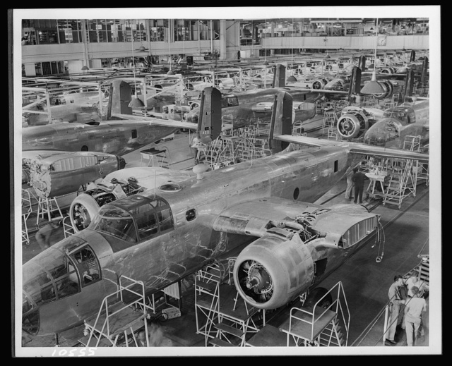 Partial view of North American Aviation's B-25 bomber final assembly line
