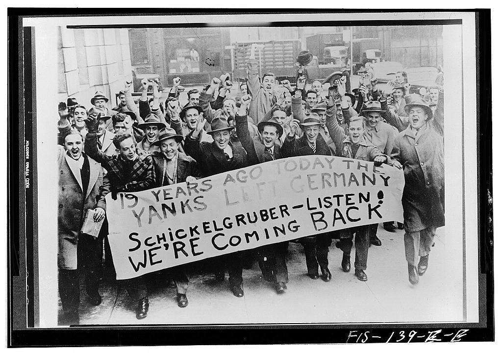 Philadelphia, Pennsylvania. Spirited Army recruits after enlisting at the customhouse