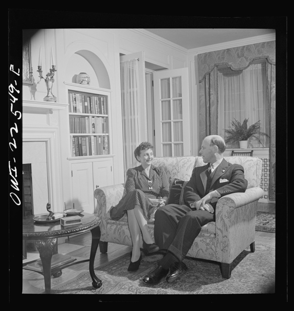 Philadelphia, Pennsylvania. Swedish-American engineer at the SKF roller bearing factory with his wife at home
