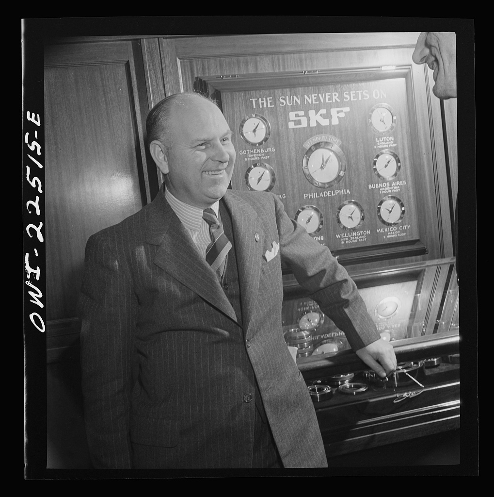 Philadelphia, Pennsylvania. Swedish-American executive at the SKF roller bearing factory