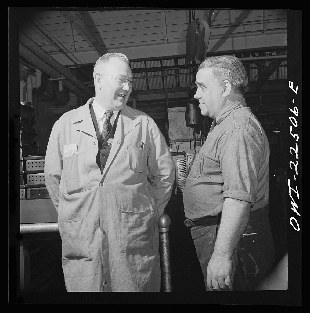 Philadelphia, Pennsylvania. Swedish-American foreman and worker at the SKF roller bearing factory