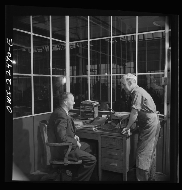 Philadelphia, Pennsylvania. Swedish-American foreman and workers at the SKF roller bearing factory