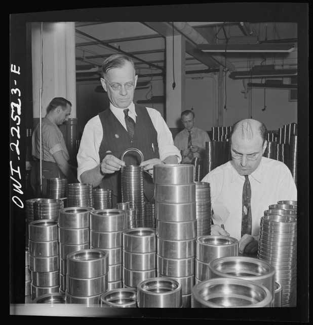 Philadelphia, Pennsylvania. Swedish-American foreman (left) at the SKF roller bearing factory