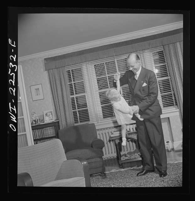 Philadelphia, Pennsylvania. Swedish-American vice president of the SKF roller bearing factory with his youngest daughter at home