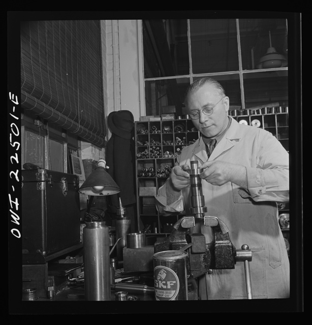 Philadelphia, Pennsylvania. Swedish-American worker at the SKF roller bearing factory