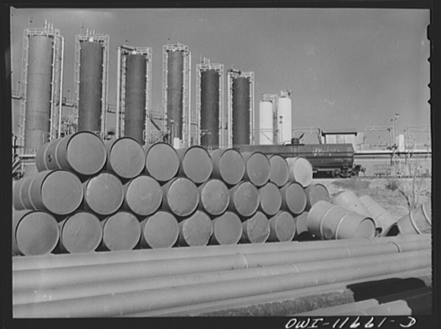 Phillips refinery. Borger, Texas. Barrels of oil