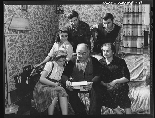 Pittsburgh, Pennsylvania (vicinity). Montour no. 4 mine of the Pittsburgh Coal Company. Jo Patenesky, miner, reading a letter from his son who is in the Army