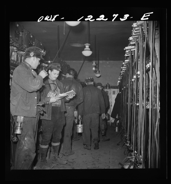 Pittsburgh, Pennsylvania (vicinity). Montour no. 4 mine of the Pittsburgh Coal Company. Miners getting their head and safety lamps
