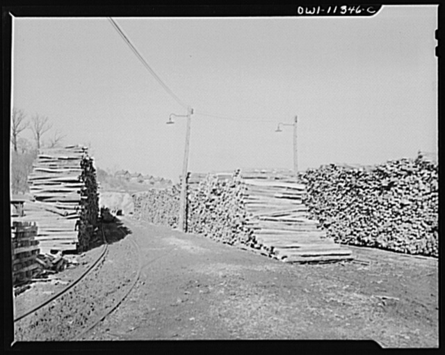Pittsburgh, Pennsylvania (vicinity). Montour no. 4 mine of the Pittsburgh Coal Company. Stockpile of timbers for the mine