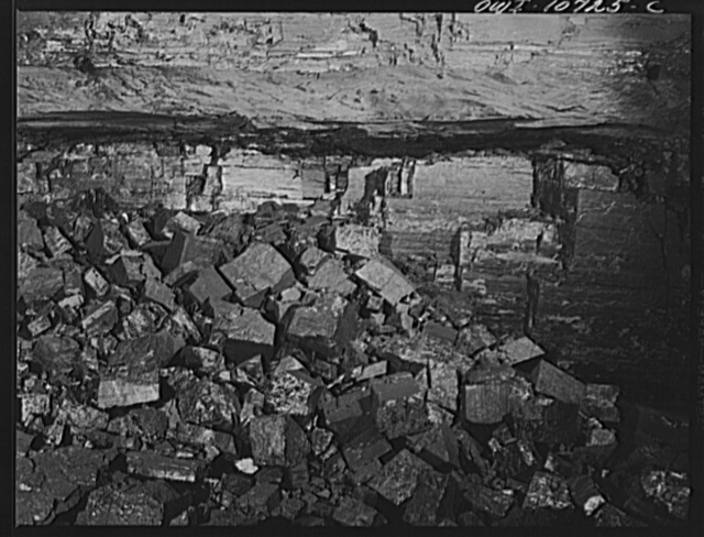 Pittsburgh, Pennsylvania (vicinity). Montour no. 4 mine of the Pittsburgh Coal Company. A face of coal shot down by a Cordox shell