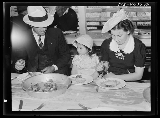 Portuguese-American family eat dinner at the fiesta of the Holy Ghost. Santa Clara, California