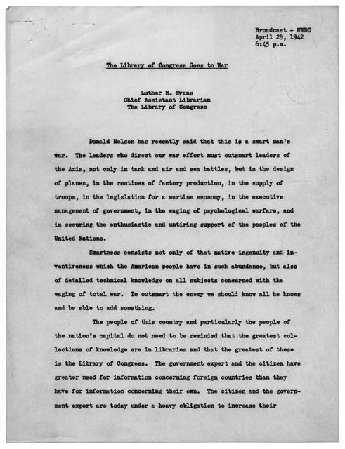 """Press Release No. 182, """"Annual Report of the Librarian of Congress,"""" Library of Congress, April 2, 1942"""