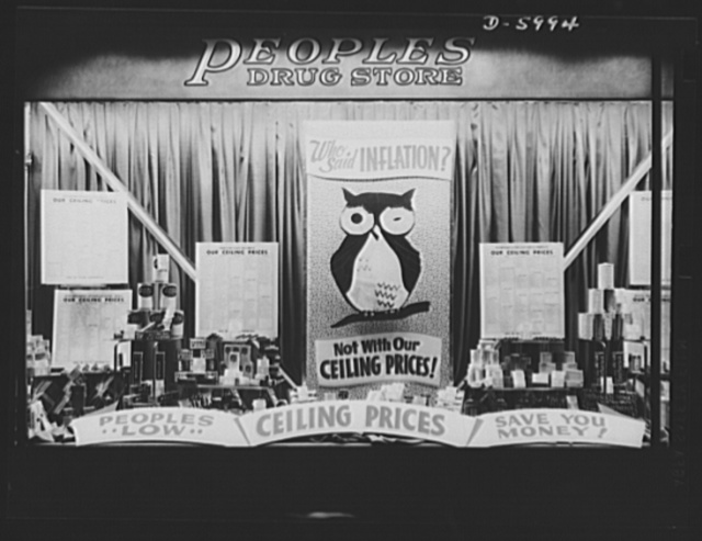 "Price control. Anti-inflation window display. The ""Wise Old Owl"" display not only boosts sales in this drugstore, but stresses cooperation between government and merchant to control prices of items essential to the war effort. The ""Save Your Money"" theme is a clever merchandising angle informing the customer that ceiling prices vary in different stores"