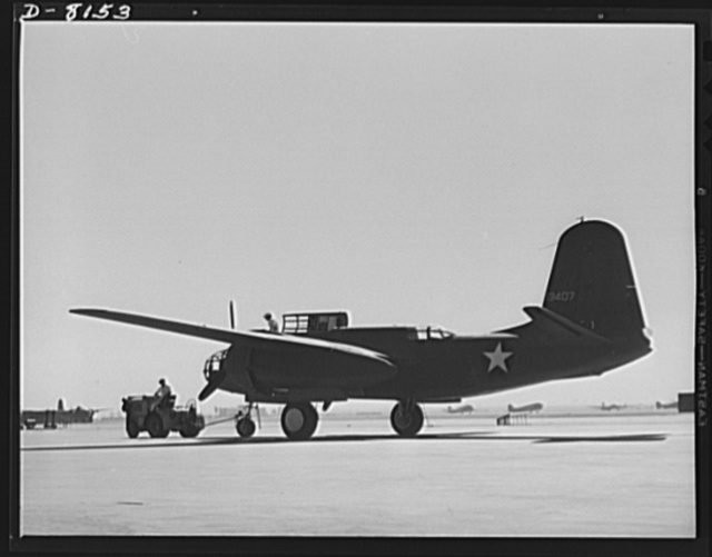 Production. A-20 attack bombers. A fast, hard-hitting new A-20 attack bomber is brought from a test hop to the flight line at the Long Beach, California, plant of Douglas Aircraft Company. The A-20 is used by the American Air Force and Royal Air Force (RAF) for hedge hopping and strafing operations against ground troops and installations--also for reconnaissance work and night fighting. It is armed with light and heavy caliber guns
