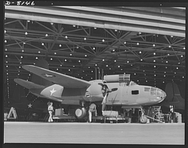 Production. A-20 attack bombers. Another Douglas A-20 attack bomber leaves the assembly line at the Long Beach, California, plant for transfer to the flight line and test flight before delivery to the Army. The A-20 is used by the American Air Force and the Royal Air Force (RAF) for hedge hopping and strafing operations against ground troops and installations--also for reconnaissance work and night fighting. It is armed with light and heavy caliber guns